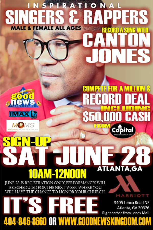 Attention Inspirational Singers & Rappers! Compete For $50,000 & Win A Million Dollar Recording Contract!